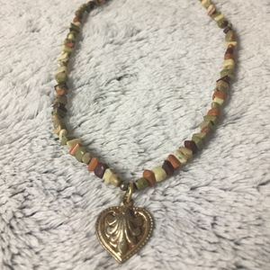 Colorful Beaded Necklace with Heart Pendant